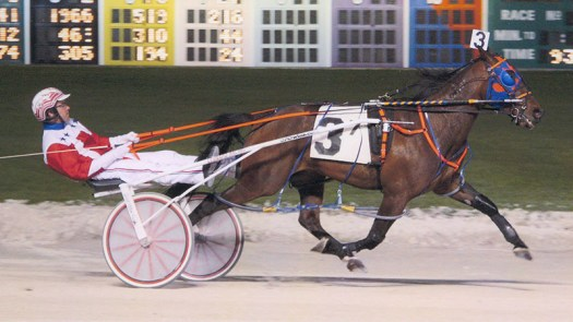 Kaydon Begone winning a race at Maywood Park on April 25, 2014