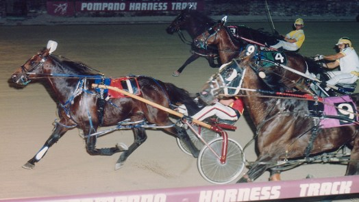 Stockade winning a race at Pompano Park. This is from April 12, 1995. Stockade is the first horse I personally owned.