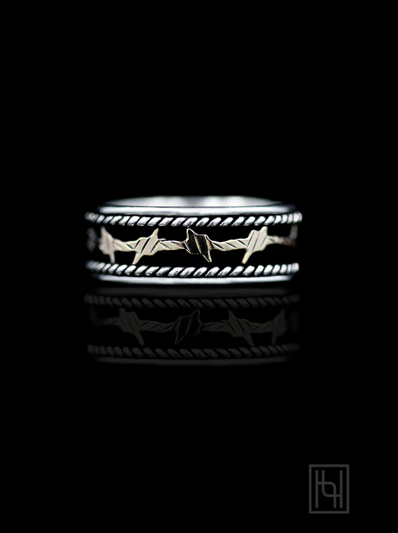 Barbed Wire Amp Rope Ring Hyo Silver