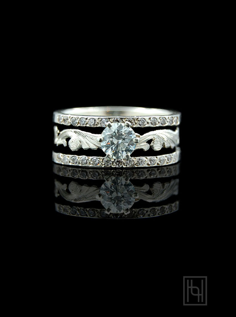 Scrolled Amp Antiqued Silver Crystal Solitaire Ring Hyo Silver