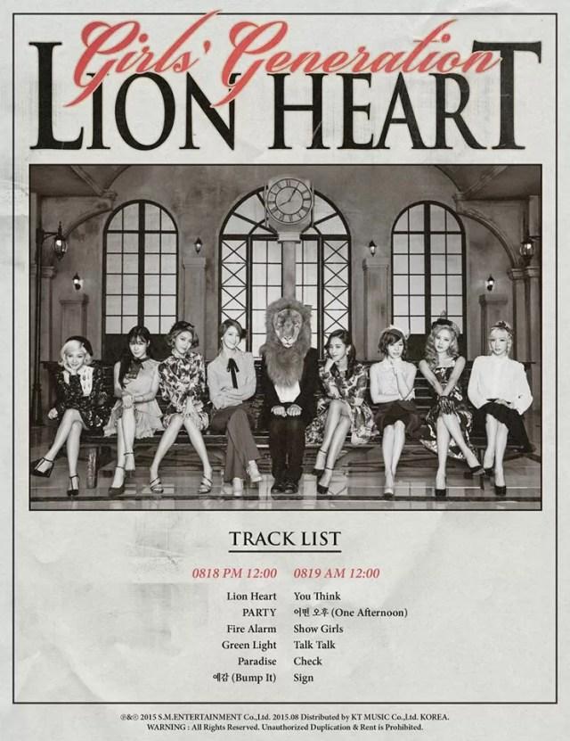 Girls' Generation Lion Heart Track List