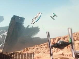 Star Wars The Force Awakens - millennium-falcon-flies