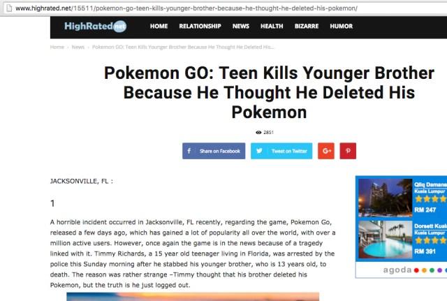 Pokemon Go Teen Kills Younger Brother