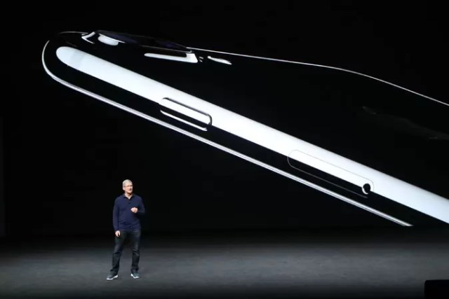 Tim Cook, Apple's chief executive, discussing the iPhone 7. Credit Jim Wilson/The New York Times