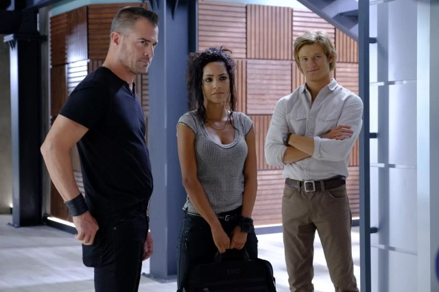 """""""Awl"""" -- MacGyver and the team are in Malaysia to extract a terrorist groups' money man, Ralph (Oliver Cooper), who holds key intel to an impending attack. But the mission goes south when the man is shot, and now, with only a driver's license and hand sanitizer available, MacGyver must keep Ralph alive in order to learn the terrorists' plans, on MACGYVER, Friday, Oct. 7 (8:00-9:00 PM, ET/PT) on the CBS Television Network. Pictured: Lucas Till, Tristin Mays, George Eads Photo: Guy D'Alema/CBS ©2016 CBS Broadcasting, Inc. All Rights Reserved"""