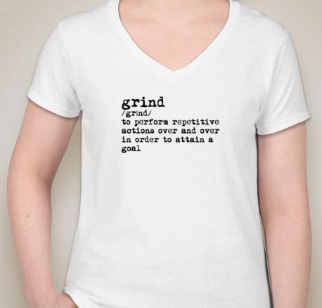 Grind Women's V-Neck (WHITE)(pre-shrunk cotton)