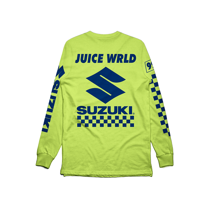 juice wrld suzuki ntwrk death race for love album merch palm springs pop up release date info ntwrk coachella buy merchandise clothing clothes t shirts graphic tees long sleeve short hoodie sweater sweatshirt pullover green yellow black orange white 2019 collab collaboration