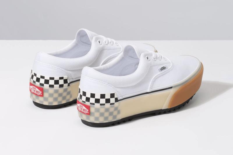 "Vans ""Stacked"" Platform Era and Sk8-Hi Sneakers confetti fairy wren sea green checkerboard white colorway"