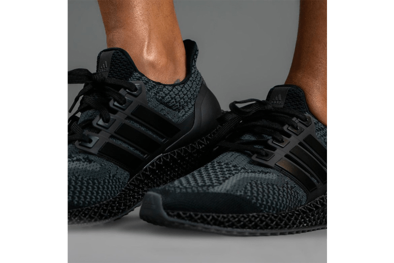 """adidas Ultra4D """"Core Black"""" Triple Black Outsole 4-Dimensional Technical Mechanical Weave Futurecraft On Foot Closer First Look Sneaker Future"""