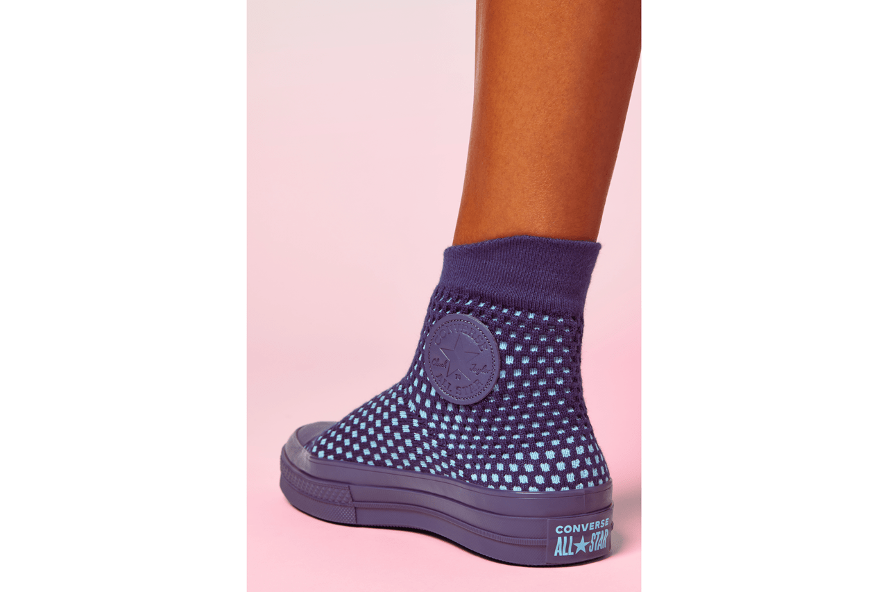 Converse's Chuck Knit in Cream, Blue