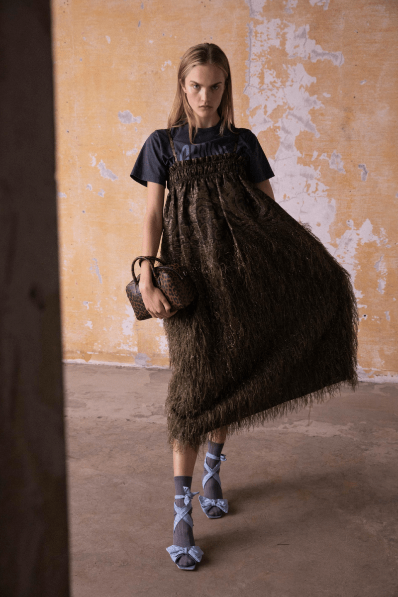 GANNI Pre-Fall 2020 Collection Lookbook Smocked Dress Frayed