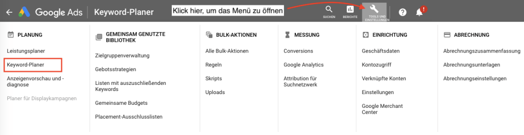 So findest du den Keyword-Planer in Google Ads