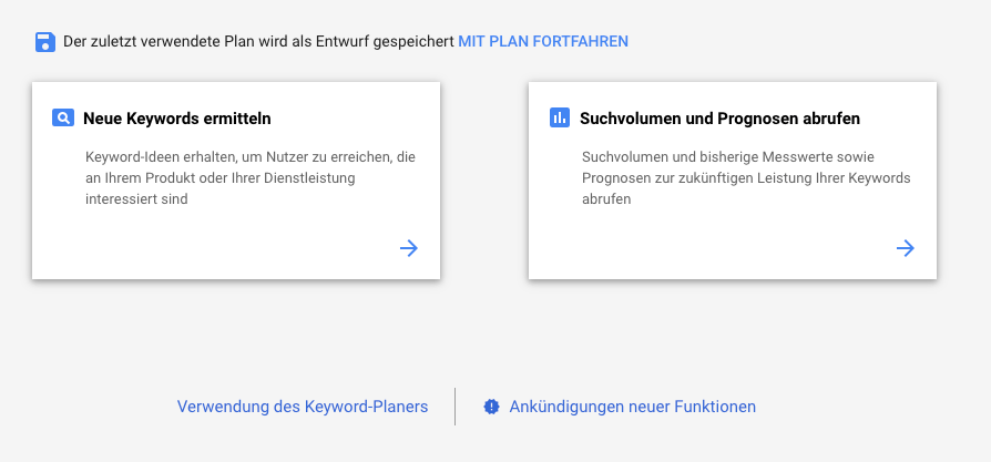 Optionen des Google Keyword-Planers