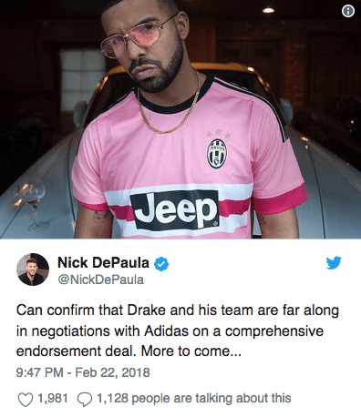 drake Drake & adidas Are Reportedly In Talks Screen Shot 2018 02 23 at 11