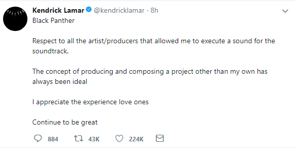 kendrick lamar Kendrick Lamar Sends A Thank You Message To All 'Black Panther' Guests For Helping Him Execute A Sound k