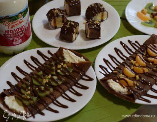 Сладкие блинчики с творожной начинкой и шоколадным соусом