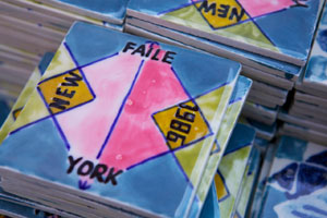 Detail of one of Faile's tiles for the project