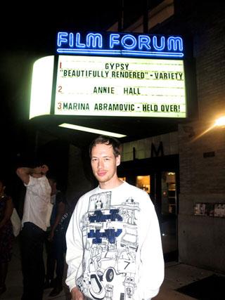 Artist Conrad Ventur in front of Film Forum