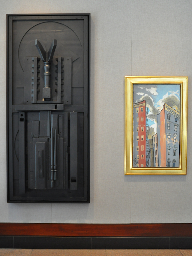 """Left to right: Louise Nevelson, """"Untitled"""" (1976–78), and Alice Neel, """"Sunset in Spanish Harlem"""" (1958)"""