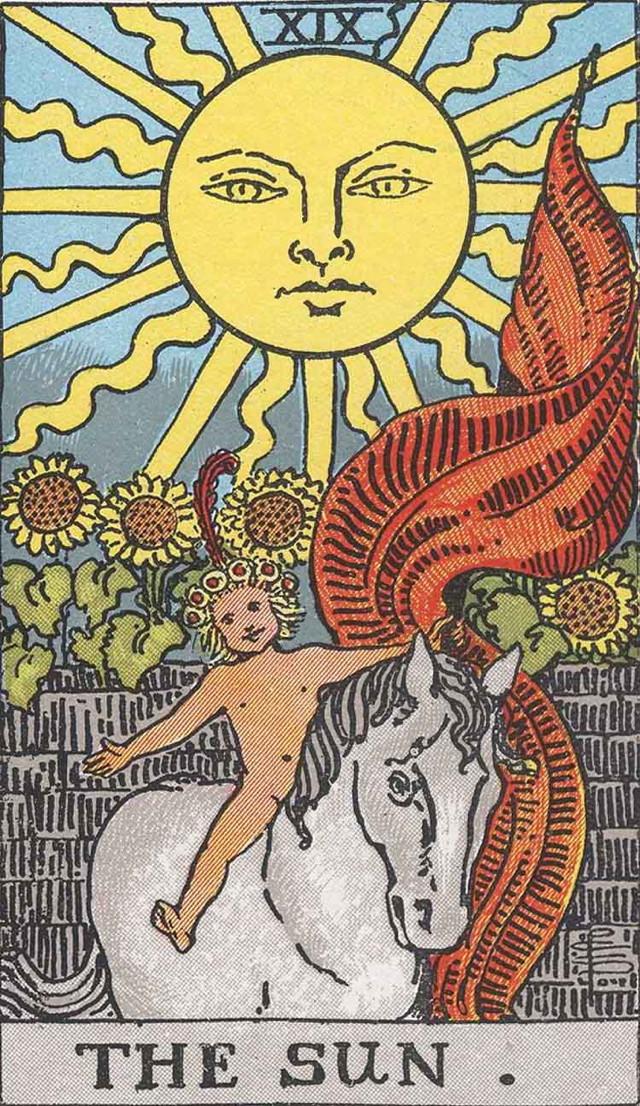 The Sun card from the Rider-Waite tarot deck (image via Wikipedia)