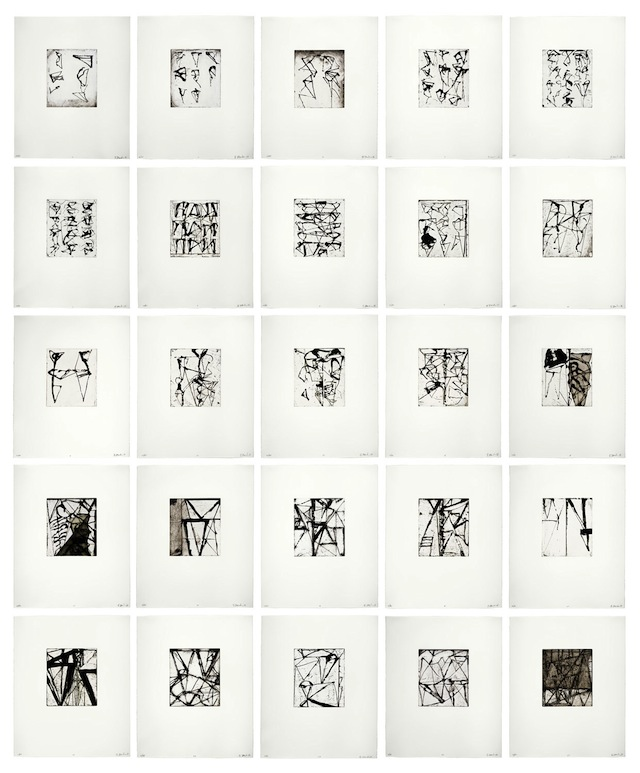 Etchings to Rexroth, 1986, by Brice Marden (American, b. 1938). Print; sugarlift, aquatint, openbite, drypoint, and scraping. San Francisco Museum of Modern Art, Purchase through a gift of Mimi and Peter Haas; © 2012 Brice Marden / Artist Rights Society (ARS), New York, 87.35.1-25.  (Image courtesy the Asian Art Museum)