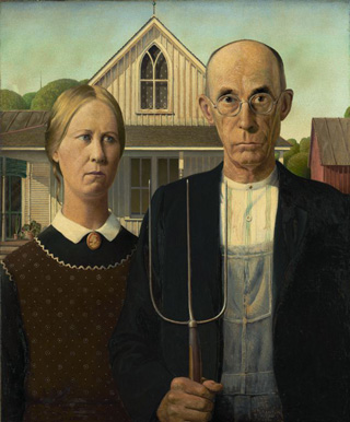 "Grant Wood's ""American Gothic"" (1930) is now in the public domain (image via Art Institute of Chicago)"
