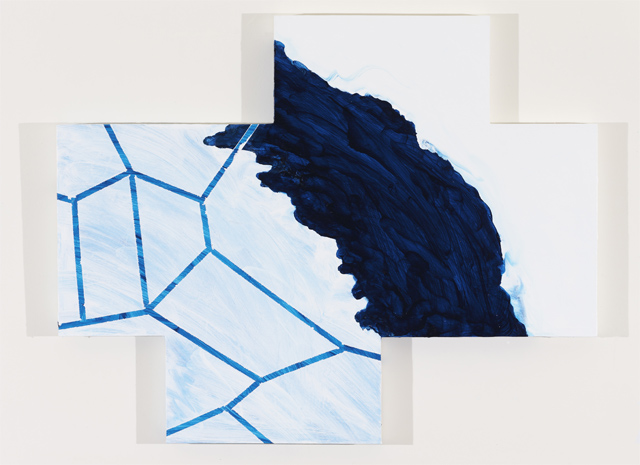 """Mary Heilmann, """"Renny's Right Geometry of a Wave"""" (2011). Oil on wood panel,31.5 x 39.75 inches"""