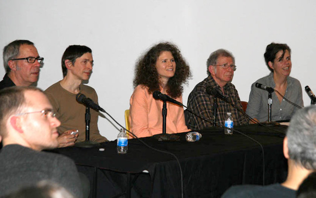 The panel, from left to right: Raphael Rubinstein, Merlin James, Dana Schutz, Richard Shiff, and Katy Siegel(all photos by the author for Hyperallergic unless otherwise noted)