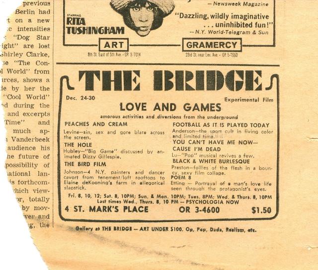 "Advertisement for ""The Bird Film"" directed by Eddie Johnson, Steve Poleskie and Elaine de Kooning. The Village Voice (mid-1960s). Courtesy Steve Poleskie."