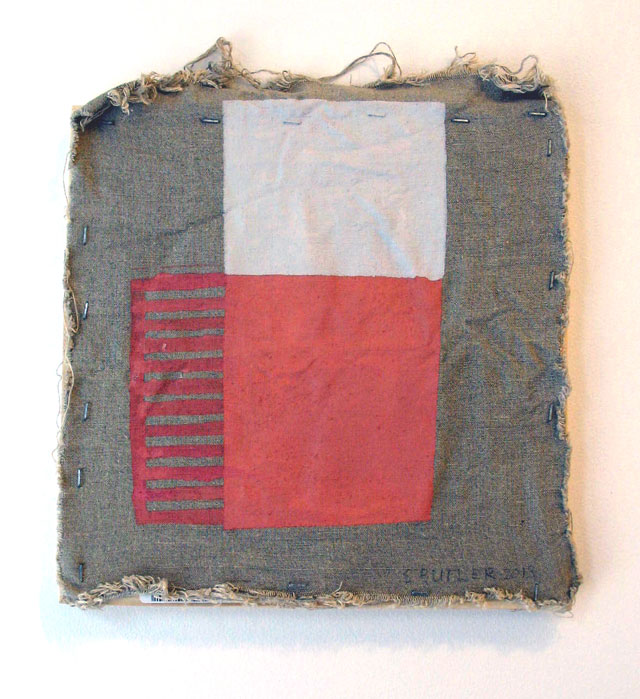 "Sharon Butler, ""Egress"" (2013). Pigment and silica binder, staples on laundered linen, 12 x 12 inches."