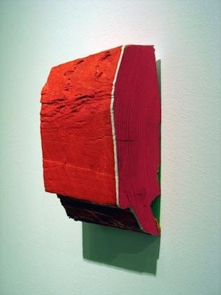 """Cordy Ryman, """"Red Mini"""" (2008). Acrylic and enamel on wood."""