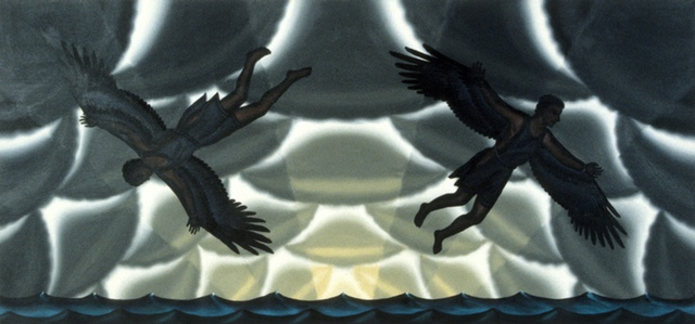Roger Brown, Study for Daedalus and Icarus mural, 1989. Oil on canvas, 25 1/2 x 54 inches.