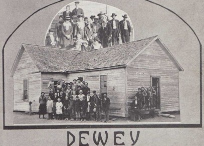 One of the many schools named for Dewey in the early 1900s, this in Taylor County Texas, pictured in 1922 (source.