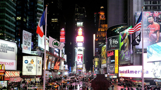 Times Square, the epitome of overwhelming advertising images (image via Flickr/wonggawei)