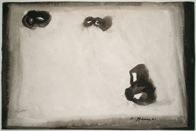 Eva Hesse, Three Bears Rolling Down a Snowy Hill, 1961, Watercolor on paper, 6 × 9 in., Courtesy Armand Bartos Fine Art, New York, Pier 92, Booth 138.