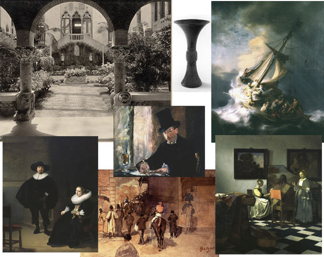 Some of the 13 art objects stolen from the Isabella Gardner Stewart Museum on March 18, 1990. (photo via flickr.com/boston_public_library and gardnermuseum.org)