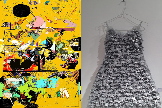 """Left: Ruben Nieto, """"A-a-a-Are You Just Going To Stand There?"""" (2010), oil on canvas (image via rubenietocomics.blogspot.com); right: TK TK"""