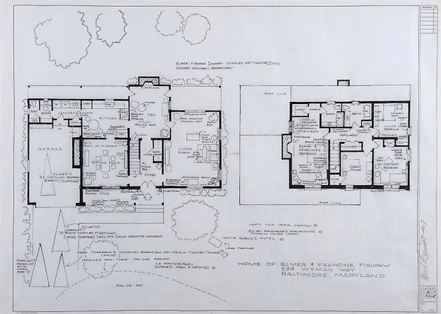 """Mark Bennett, """"Home of Elmer and Francine Fishpaw (Polyester)"""" (2007), india ink and graphite on vellum, 30 x 42 inches (image via ConnerSmith)"""