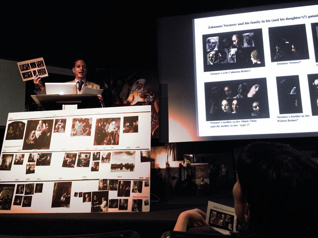 Benjamin Binstock opens the Vermeer's Daughter symposium at NYU's Cantor Film Center on May 18th (all images by the author for Hyperallergic)
