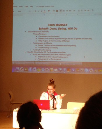 Artist Erin Markey presenting her business plan at the New Museum, May 4, 2013. (photo by author for Hyperallergic)