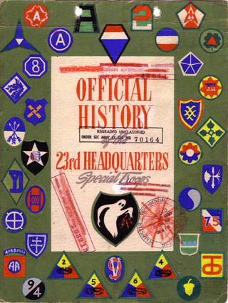 The official history of the Ghost Army, with the unit's ghost emblem at the bottom (click to enlarge) (via ghostarmy.org)