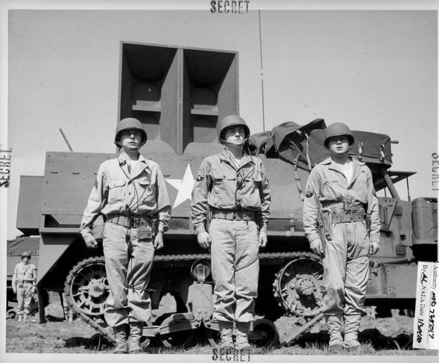 A half-track outfitted with playback equipment and a 500-pound speaker with a range of 15 miles, used by the Ghost Army for sonic deception. (image courtesy the National Archives and PBS)