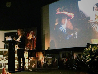 "April Gornik speaks about the painting ""Girl with a Red Hat""  at Vermeer's Daughter--a symposium at NYU's Cantor Film Center on May 18th. (click to enlarge)"