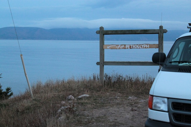 A sign for a carving at Smelt Brook Shore, Cape Breton, NS, Canada (2011)