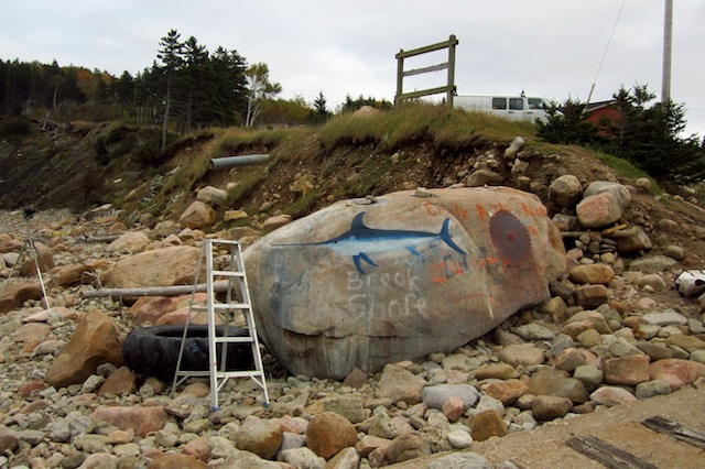 """Kevin Sudeith, """"Swordfish, Saw Blade, and Ladder, Smelt Brook Shore,"""" Cape Breton, NS, Canada (2012) (all images courtesy the artist)"""
