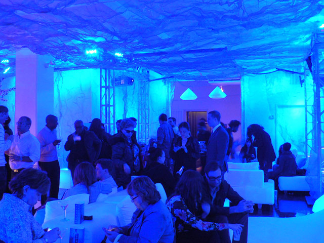 """Visitors to """"Storyscapes"""" at the 2013 Tribeca Film Festival (photo by the author for Hyperallergic)"""