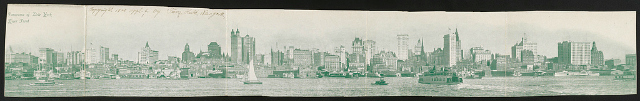 Panorama of New York river front Date Created/Published: 1900. Medium: 1 print (postcard) Summary: Postcard shows the skyline of New York with water traffic in the foreground.