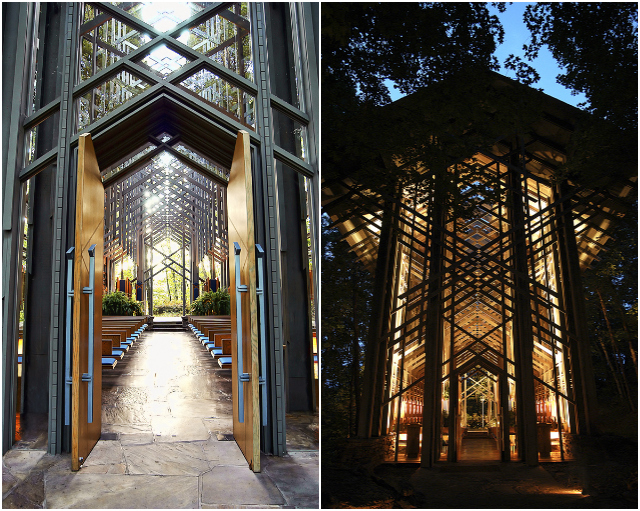 Thorncrown Chapel in daylight and night