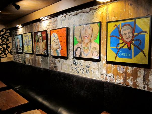 An image of …… art works when they were on display at Arlene's Grocery. (image courtesy the artist)