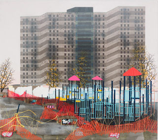 """Erik Benson, """"Playground (Weeds)"""" (2013), acrylic on canvas over panel, 64 x 72 in / 162.6 x 182.9 cm (click to enlarge)"""